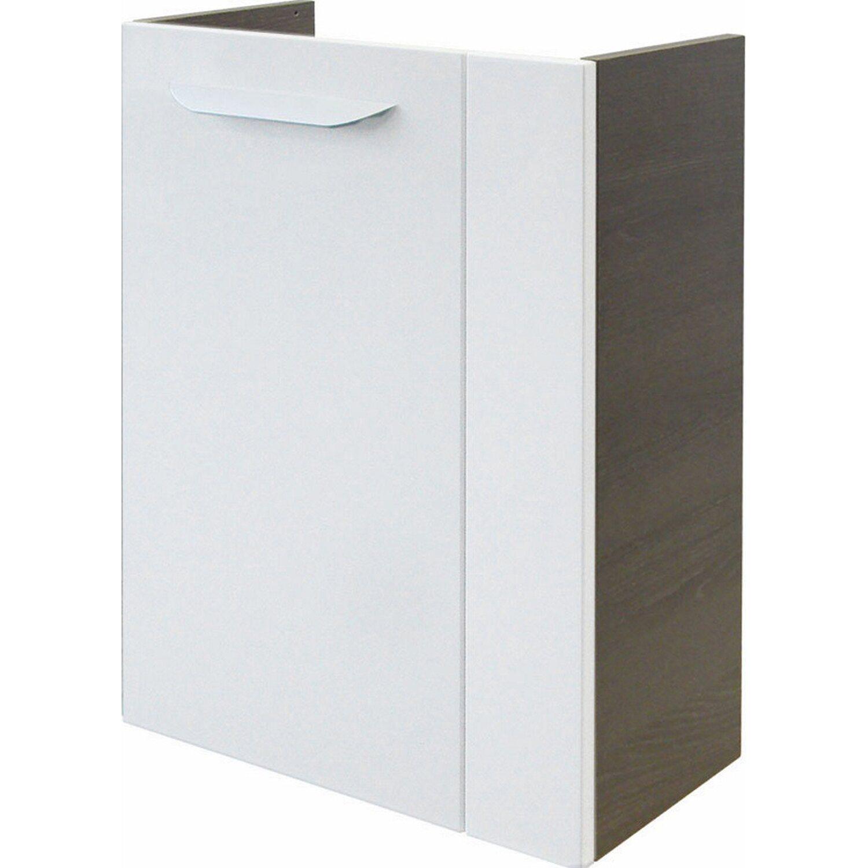 Fackelmann  Gäste-Waschbeckenunterschrank links 44 cm Lavella Eiche Cognac-Weiß