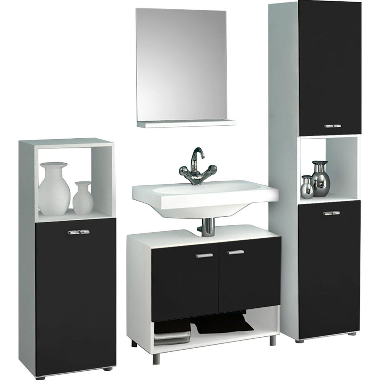 vcm badm bel set pandol wei schwarz 4 teilig kaufen bei obi. Black Bedroom Furniture Sets. Home Design Ideas
