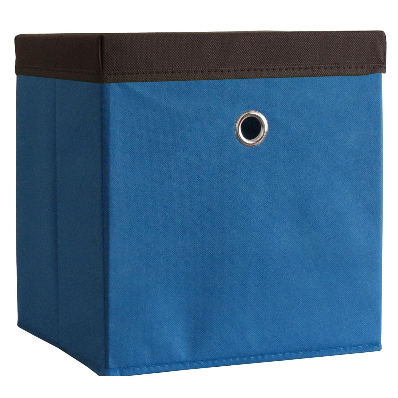 VCM Stoffbox Boxas Blau mit Deckel 2 Stück