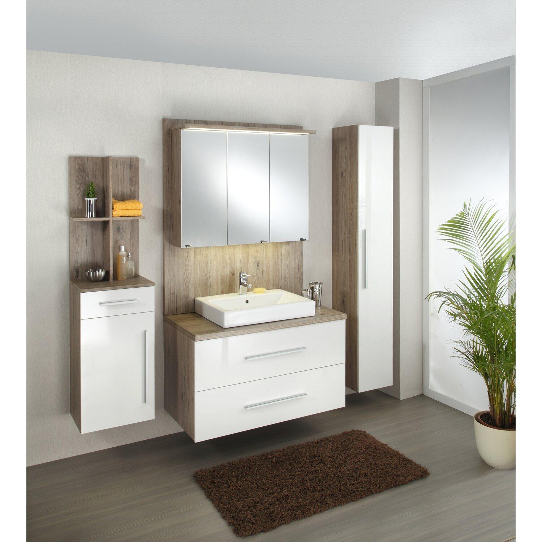 Badezimmermöbel weiß eiche  Kesper Badmöbel-Set EEK: A-A++ Varresa Eiche-Weiß 3-teilig kaufen ...