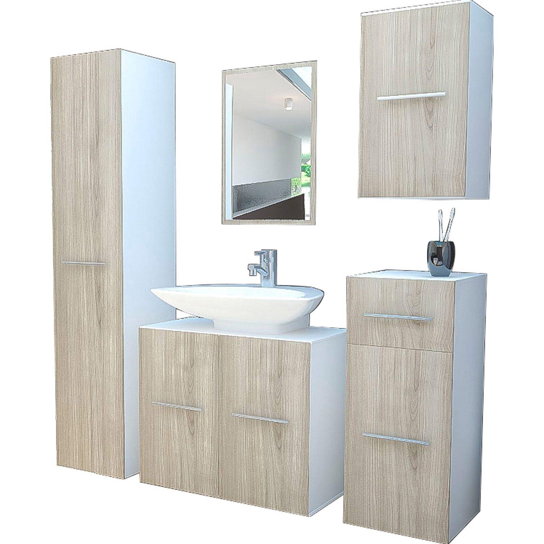 Badezimmermöbel weiß eiche  VCM Badmöbel-Set Carlos Weiß-Eiche 5-teilig kaufen bei OBI