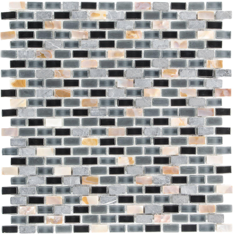 Sonstige Mosaik Glas & Stein 5th Avenue Black Mix Seashell 28,5 cm x 28,5 cm