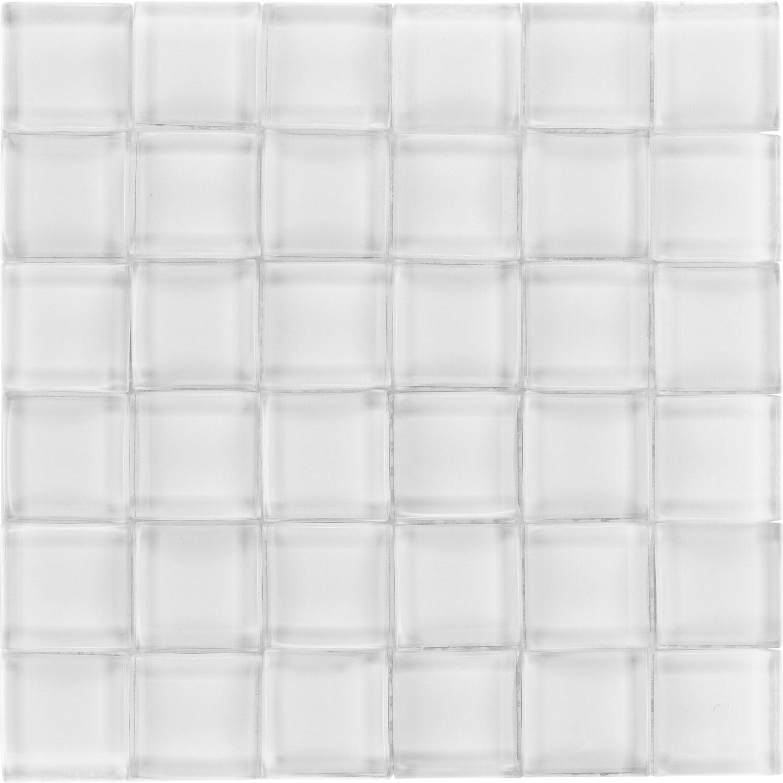 Sonstige Glasmosaikmatte 3D White glänzend 25,8 cm x 25,6 cm