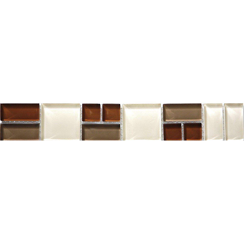 Sonstige Glasbordüre Block Beige 5 cm x 30 cm