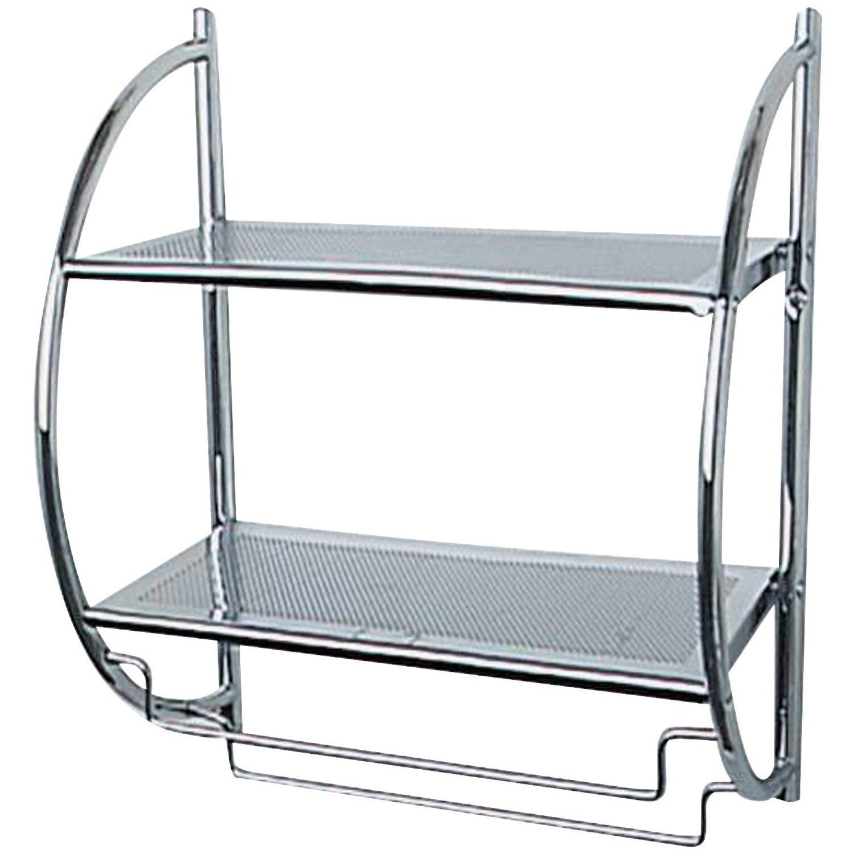 Wenko Exclusiv Wandregal 2 Ablagen Chrom 54,5 cm x 45,5 cm x 26 cm