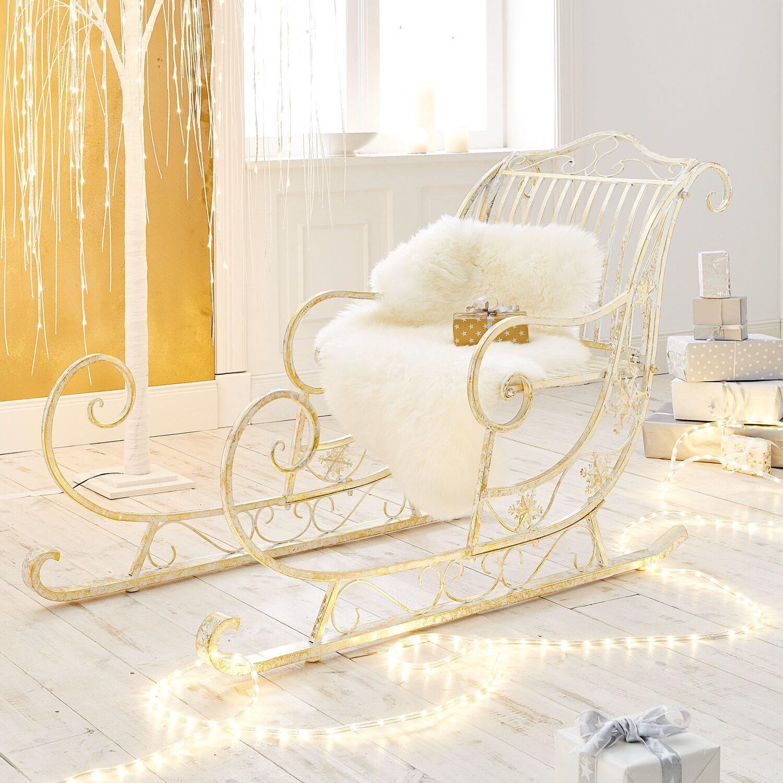 Best of home Deko-Schlitten Skadi Weiß-Gold kaufen bei OBI