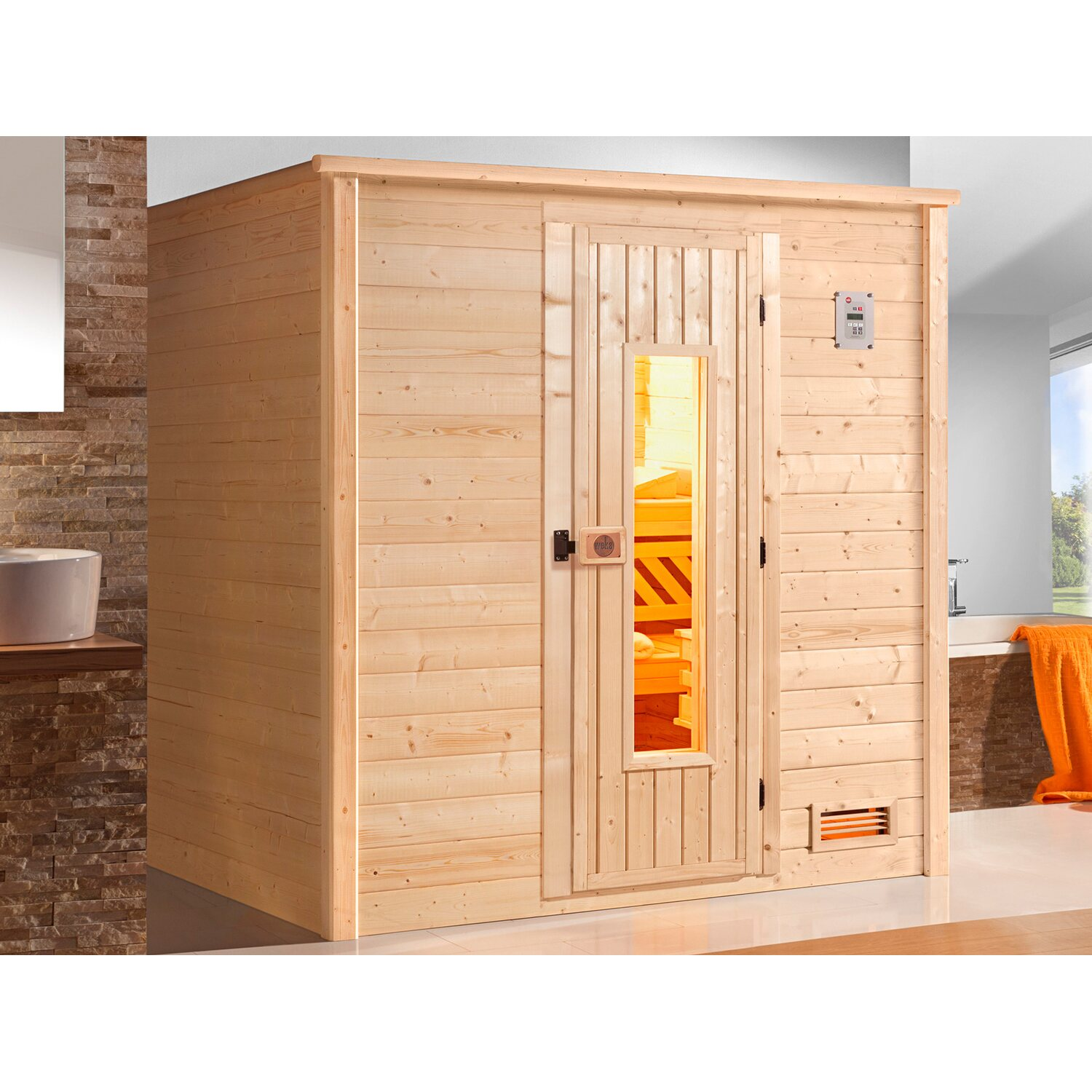 weka massivholz sauna 530 gr 1 mit holzt r ohne ofen kaufen bei obi. Black Bedroom Furniture Sets. Home Design Ideas