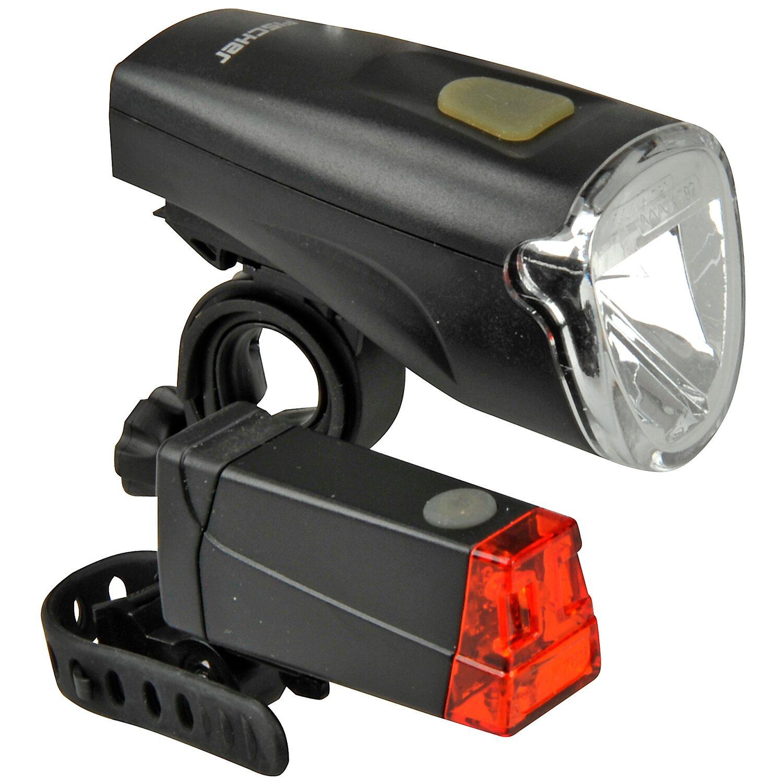 Fischer Fahrrad-Beleuchtungsset LED 40 Lux Schwarz