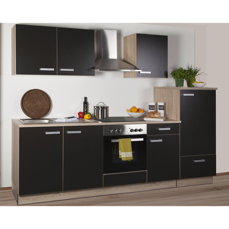 Küchenzeile Litra 270 cm Lava Melamin-Sonoma Eiche Kühlschr. rechts