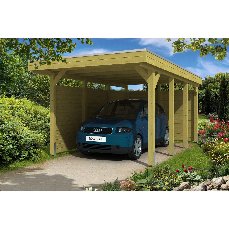 Skan Holz Flachdach-Einzelcarport Friesland B x T 314 cm x 555 cm Set 1 | Baumarkt > Garagen und Carports | Holz | Skan Holz