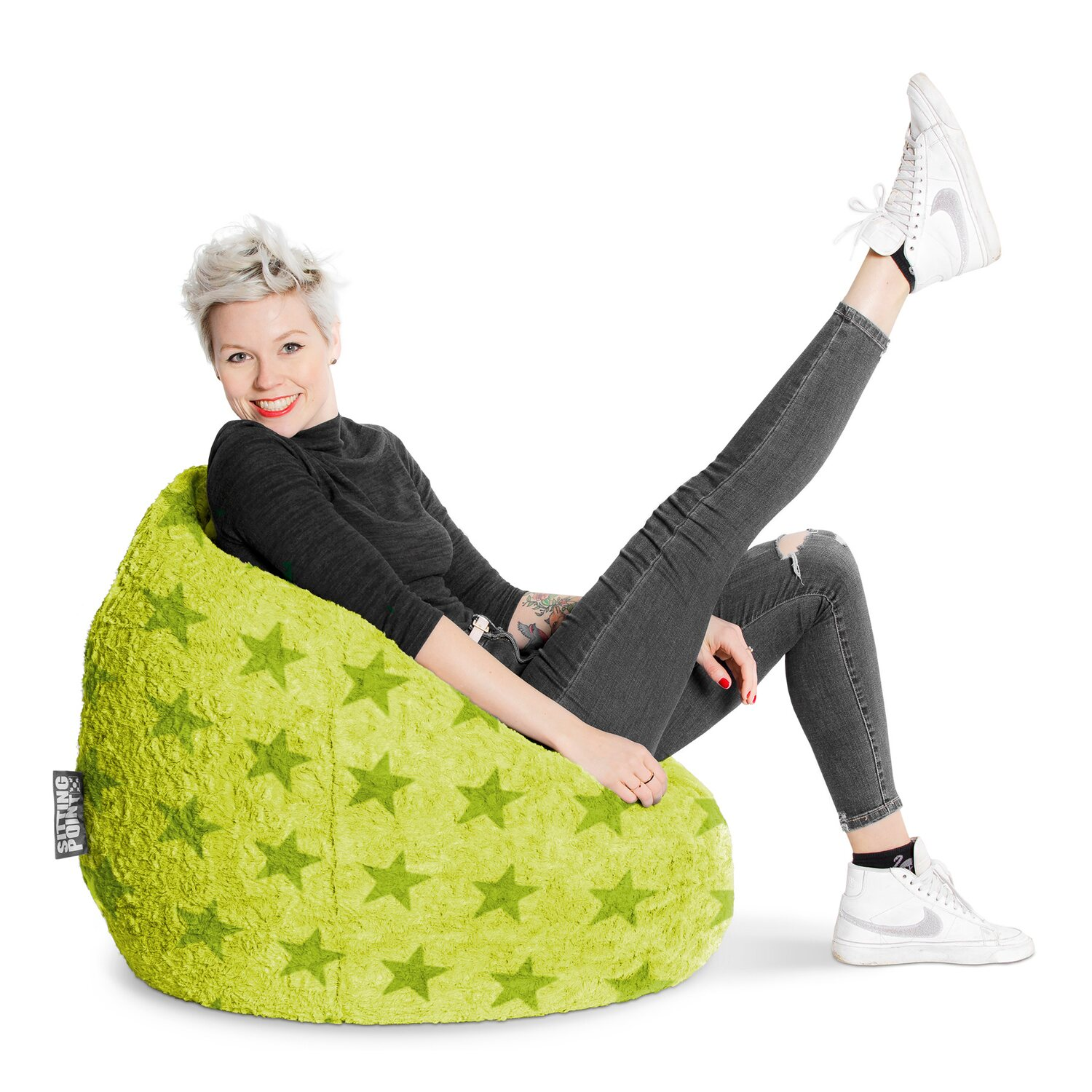 sitting point sitzsack beanbag fluffy stars 220 l gr n. Black Bedroom Furniture Sets. Home Design Ideas