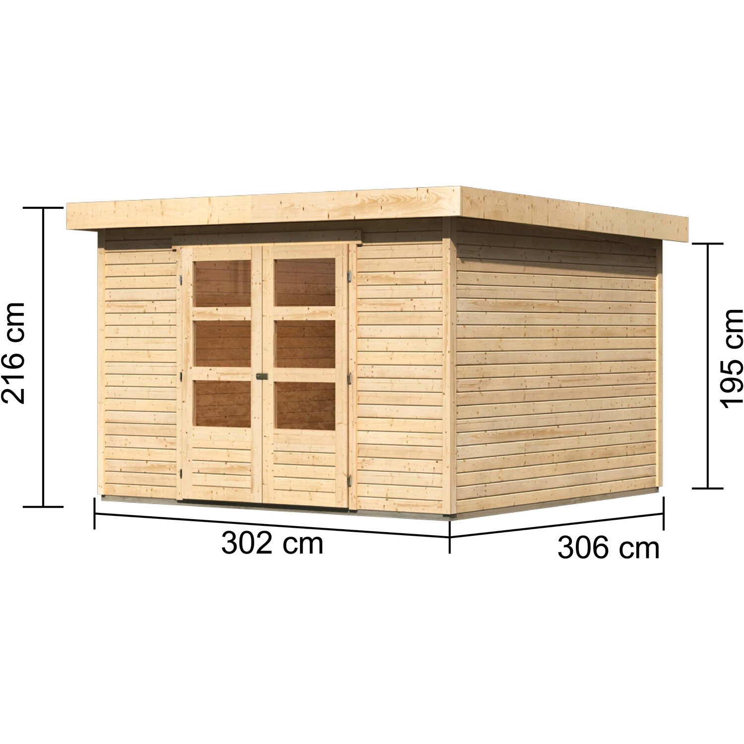 karibu holz gartenhaus boras 6 natur 302 cm x 306 cm. Black Bedroom Furniture Sets. Home Design Ideas