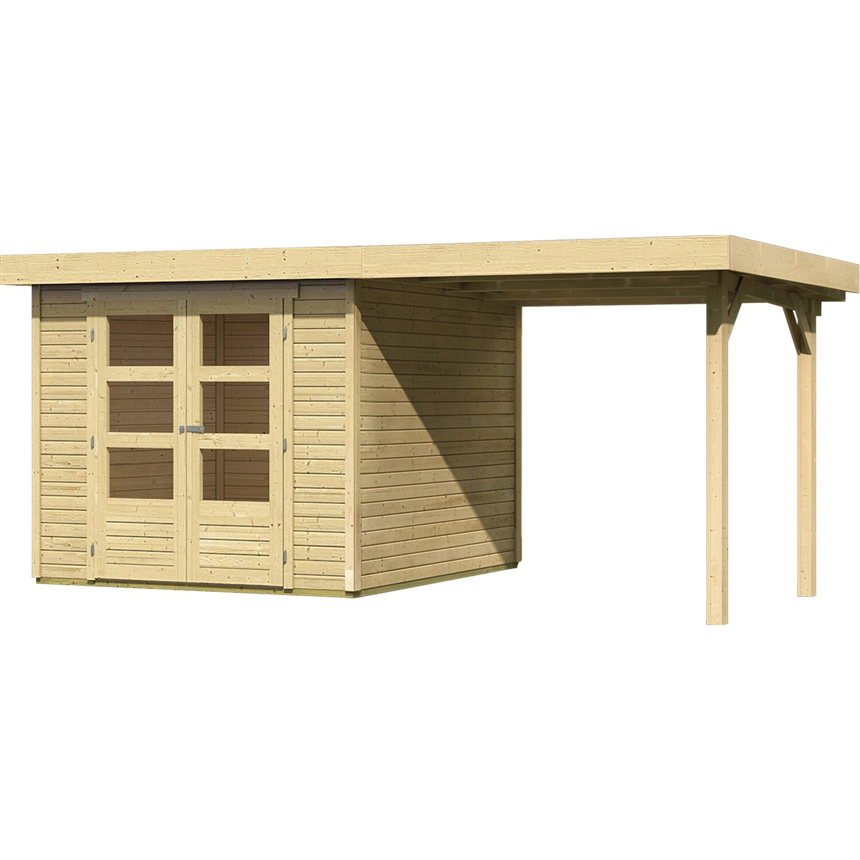 karibu holz gartenhaus boras 3 set mit schleppdach natur. Black Bedroom Furniture Sets. Home Design Ideas
