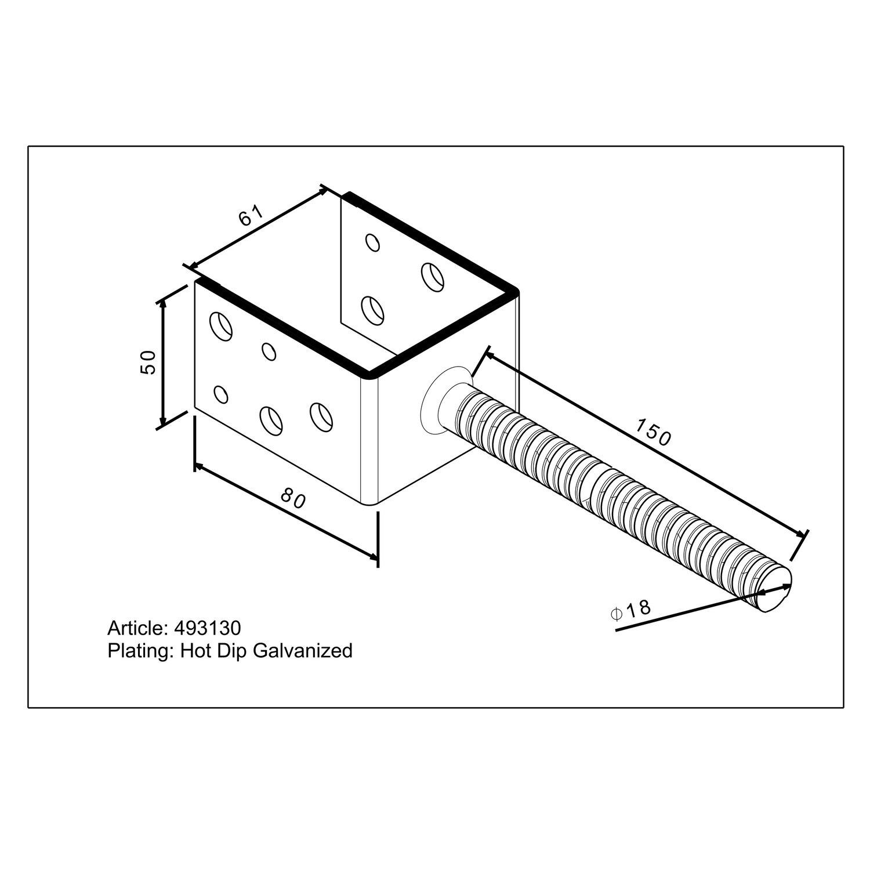 Stützenschuh U-Form zum Einbetonieren 61 mm Breitemit 14 mm ...