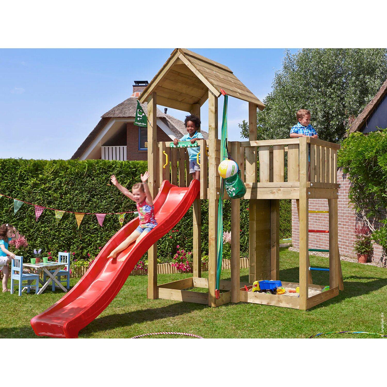 jungle gym holzspielturm mansion mit rutsche rot kaufen. Black Bedroom Furniture Sets. Home Design Ideas