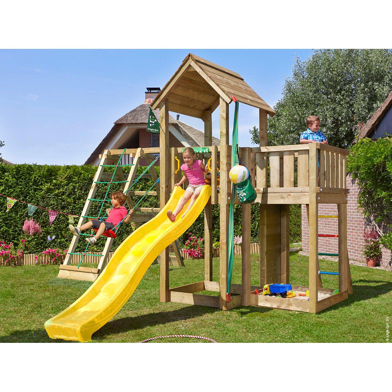 Jungle Gym Holzspielturm Mansion Klettergerüst mit Rutsche Gelb ...