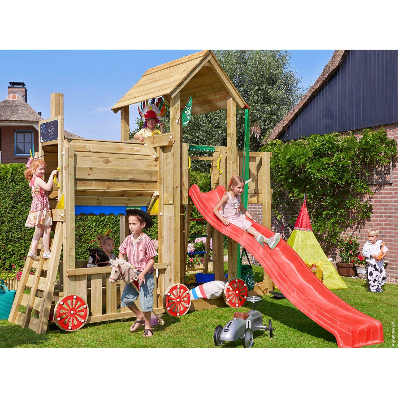 Jungle Gym Holzspielturm Mansion Zug mit Rutsche Rot   Kinderzimmer > Spielzeuge > Schaukeln & Rutschen   Rot   Holz   Jungle Gym