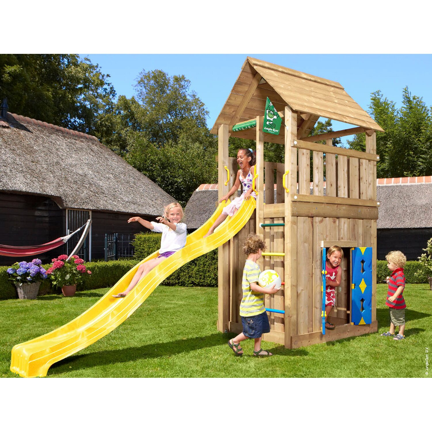 jungle gym holzspielturm cabin spielhaus mit rutsche gelb kaufen bei obi. Black Bedroom Furniture Sets. Home Design Ideas