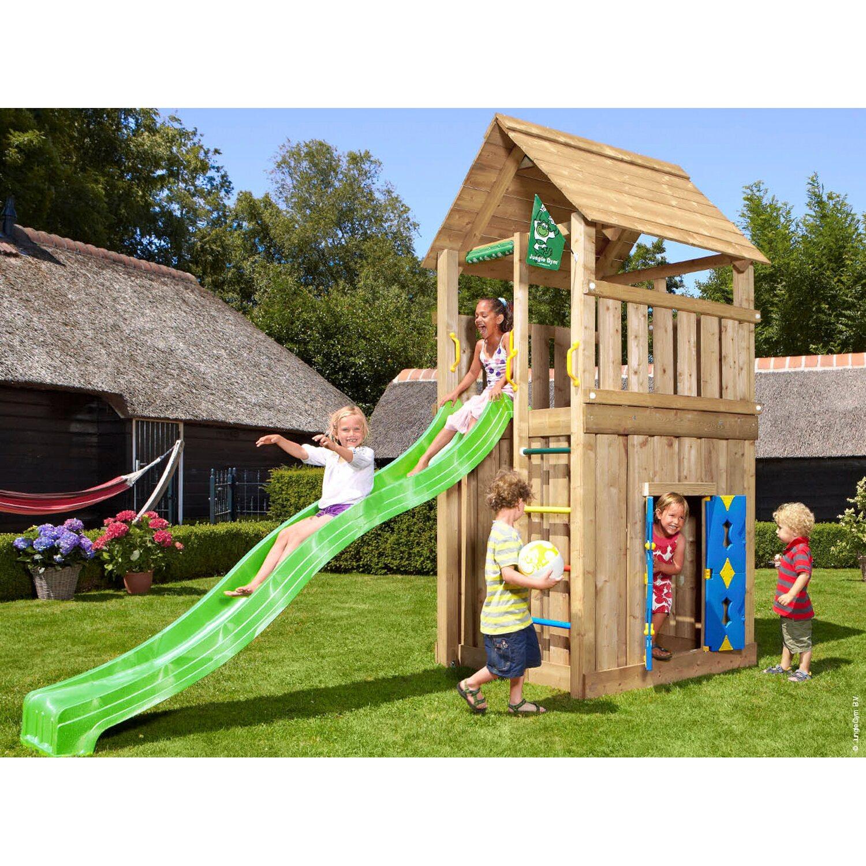 jungle gym holzspielturm cabin spielhaus mit rutsche gr n kaufen bei obi. Black Bedroom Furniture Sets. Home Design Ideas
