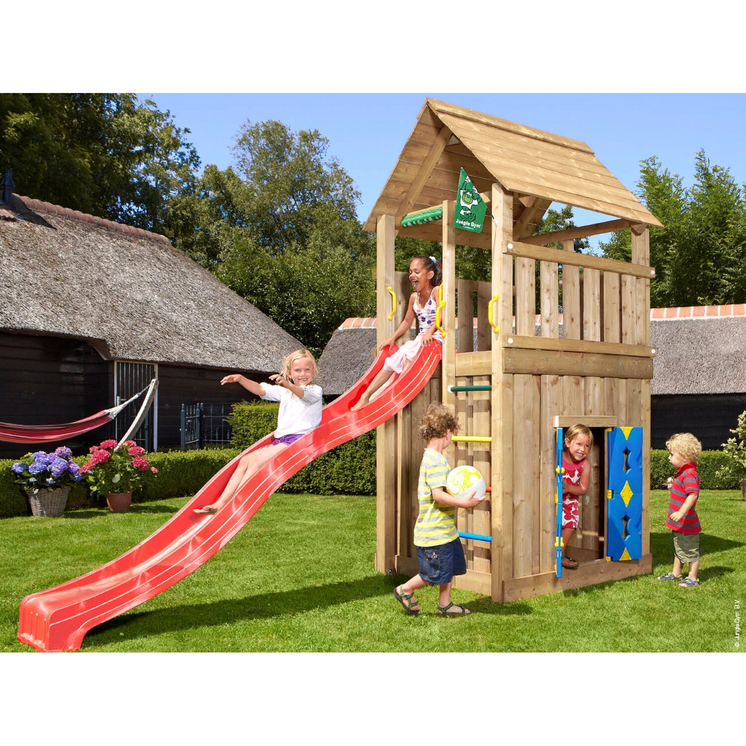 jungle gym holzspielturm cabin spielhaus mit rutsche rot kaufen bei obi. Black Bedroom Furniture Sets. Home Design Ideas