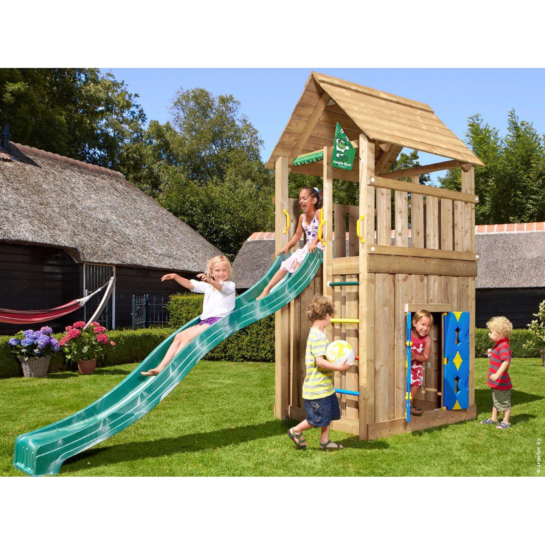 jungle gym holzspielturm cabin spielhaus mit rutsche dunkelgr n kaufen bei obi. Black Bedroom Furniture Sets. Home Design Ideas