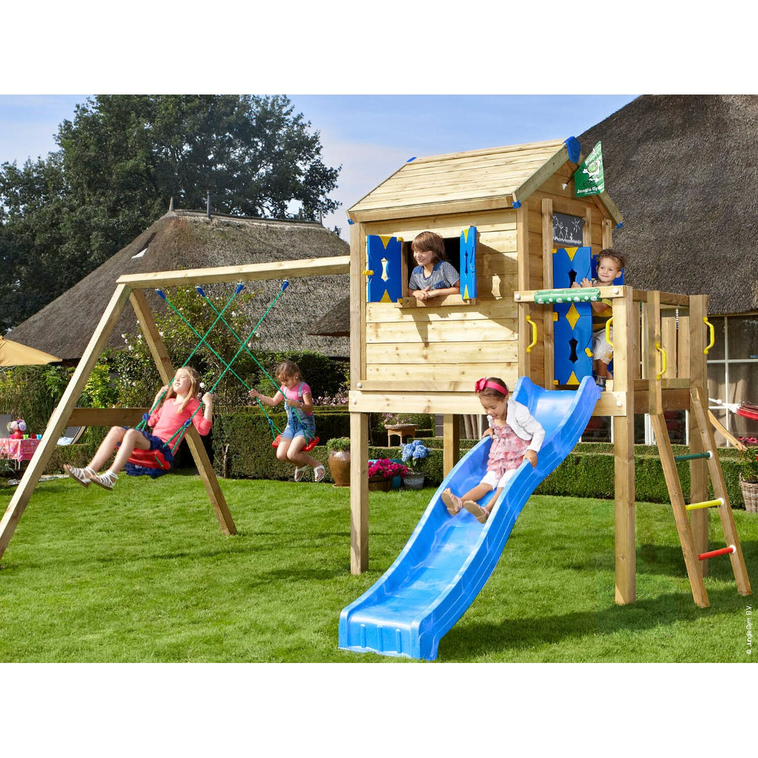 jungle gym spielhaus l 2 schaukel mit rutsche blau kaufen. Black Bedroom Furniture Sets. Home Design Ideas