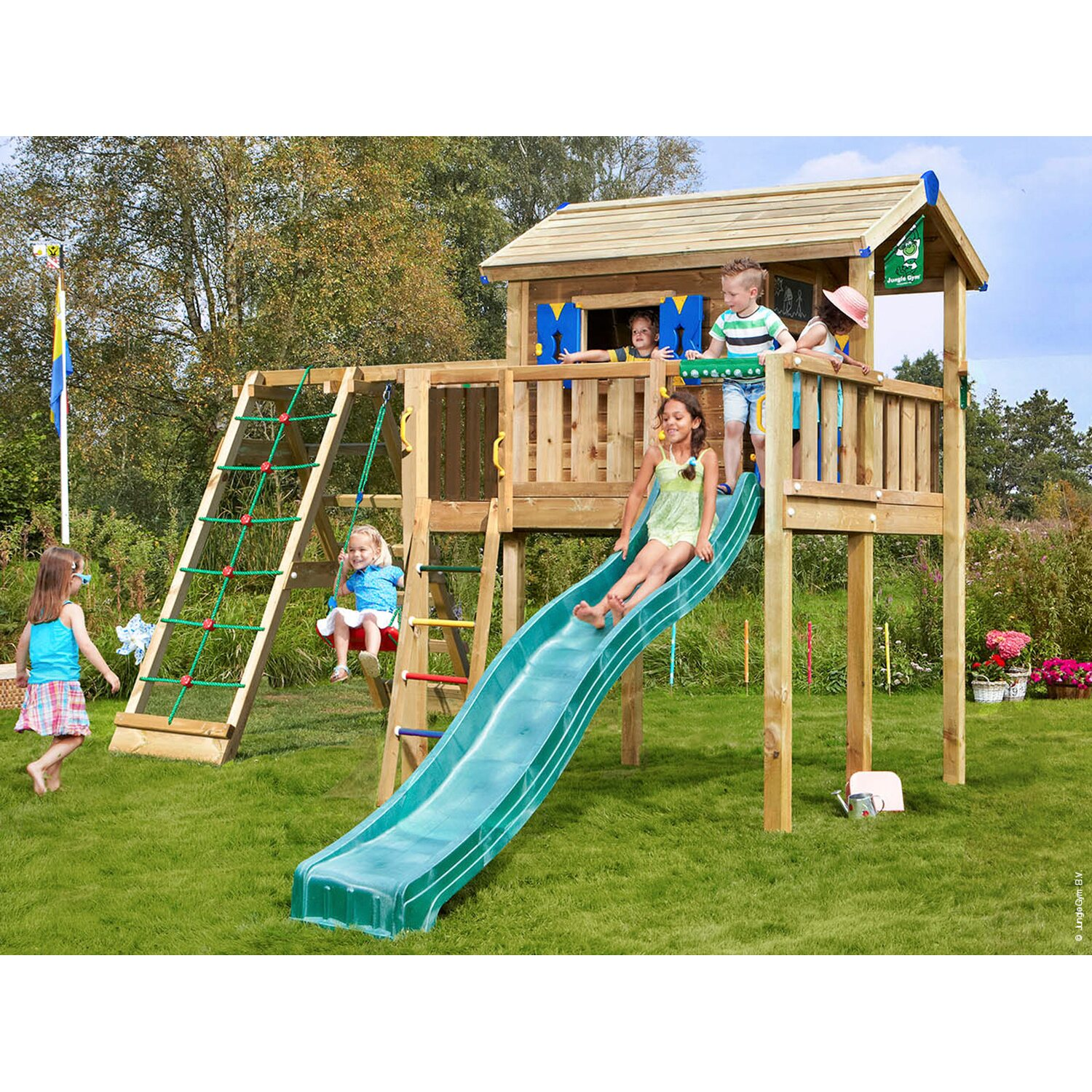 jungle gym spielhaus xl kletterger st mit rutsche dunkelgr n kaufen bei obi. Black Bedroom Furniture Sets. Home Design Ideas