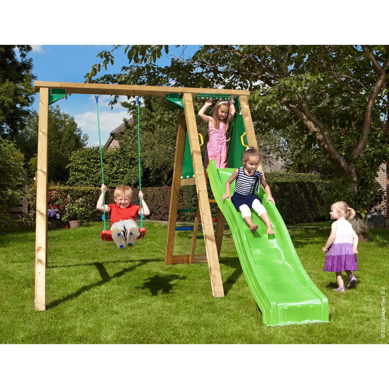 Jungle Gym Schaukel Peak mit Rutsche Grün 220 cm x 240 cm x 370 cm | Kinderzimmer > Spielzeuge > Schaukeln & Rutschen | jungle gym