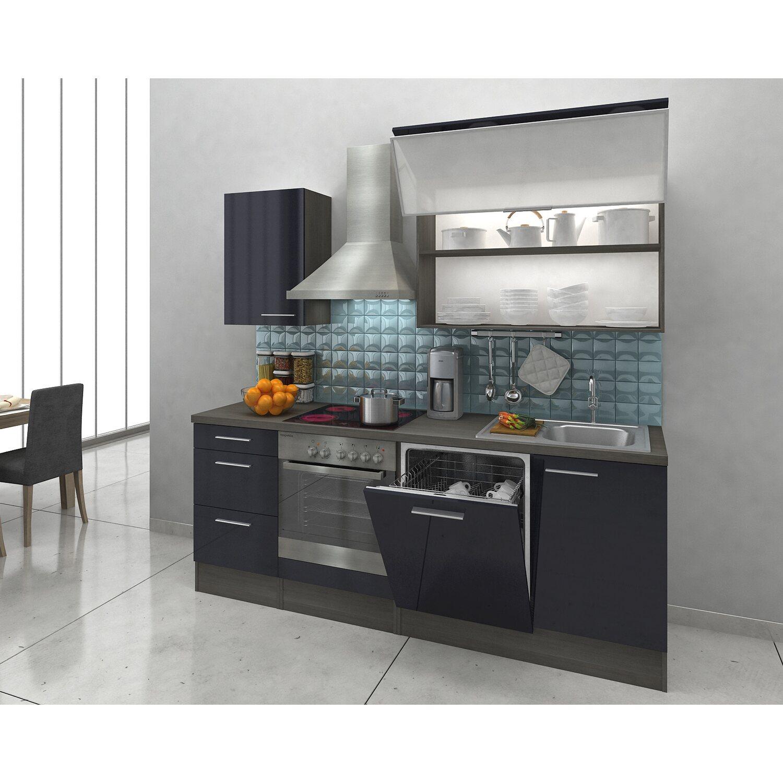 Respekta Premium Küchenzeile RP220ESC 220 cm Schwarz-Eiche Grau ...