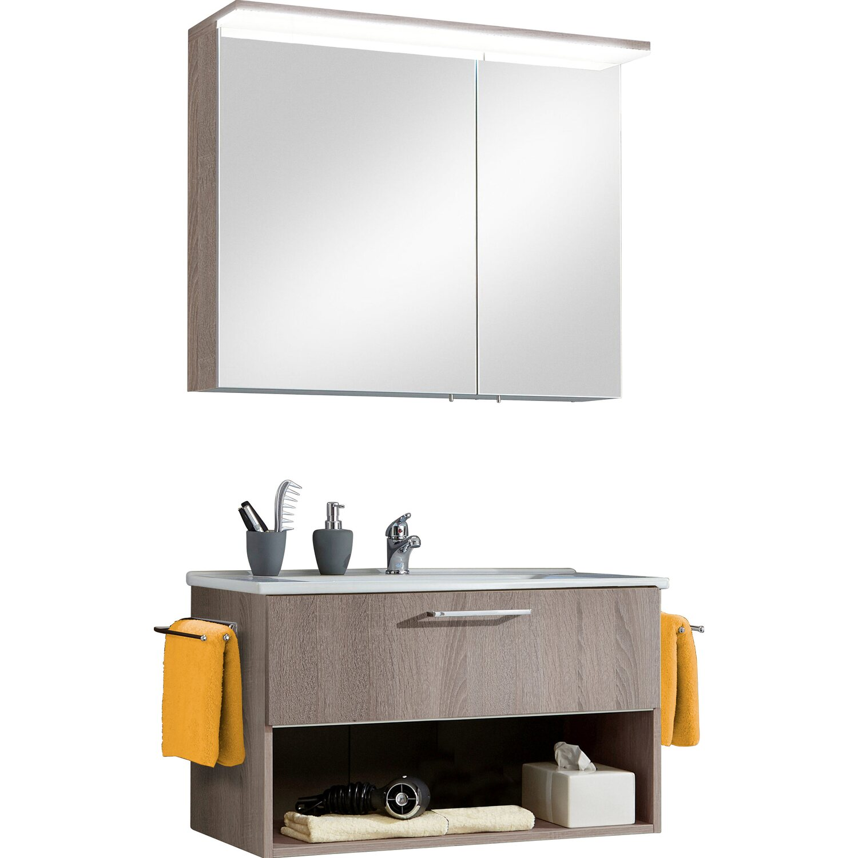 optifit badm bel set maxx 85 cm kastanie mit auszug und. Black Bedroom Furniture Sets. Home Design Ideas