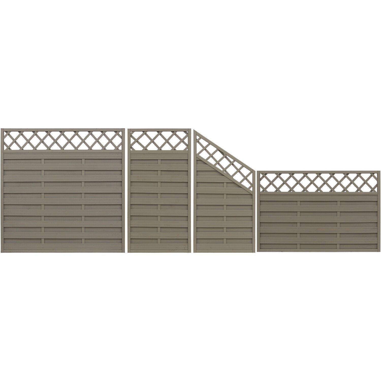 Sichtschutzzaun Element Country Grau 120 cm x 180 cm kaufen bei OBI