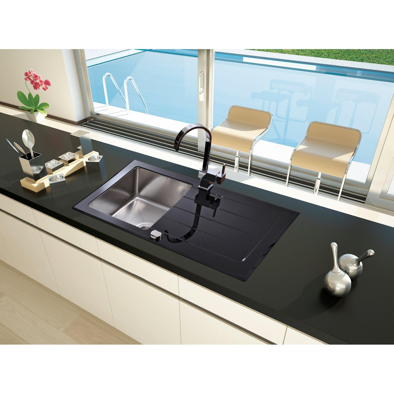 Respekta Glasspüle New York 86 cm x 50 cm Schwarz kaufen bei OBI