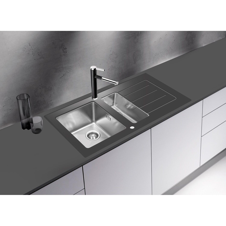 Respekta Glasspüle New York 100 cm x 50 cm Schwarz kaufen bei OBI