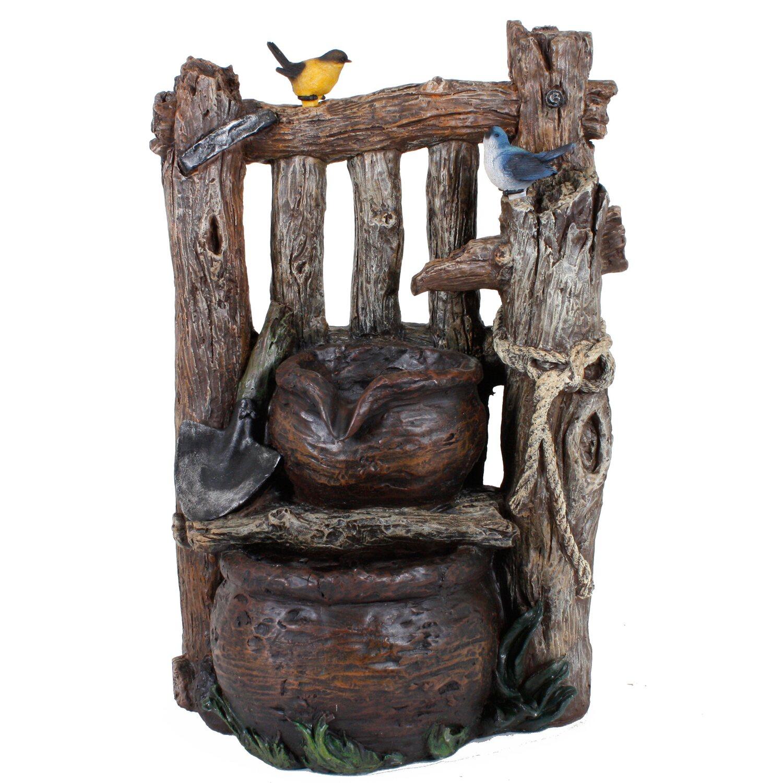 Garden Pleasure Brunnen in Holzoptik mit 2-fach Kaskade