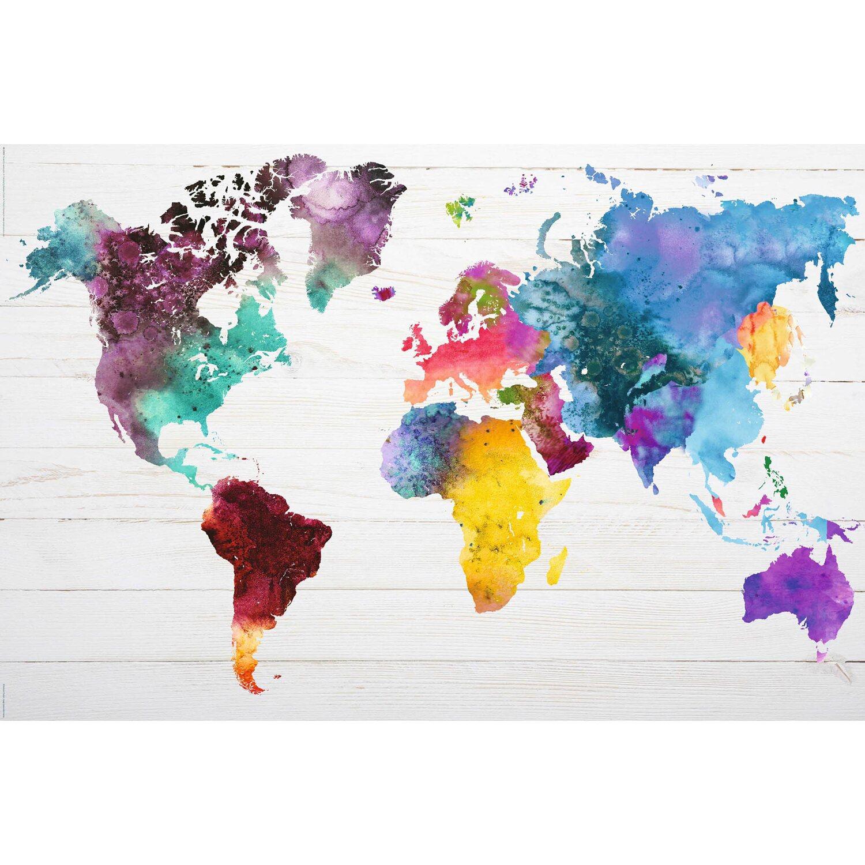 Wandbild weltkarte in wasserfarben 90 cm x 60 cm kaufen - Weltkarte mit fotos ...