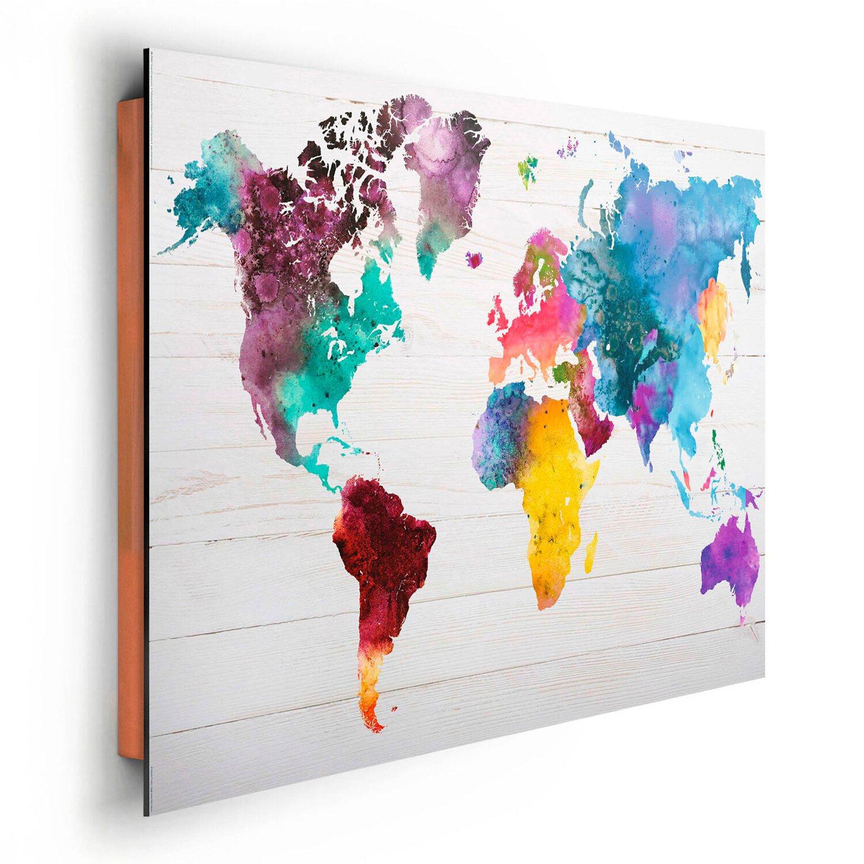 wandbild weltkarte Wandbild Weltkarte in Wasserfarben 90 cm x 60 cm kaufen bei OBI wandbild weltkarte