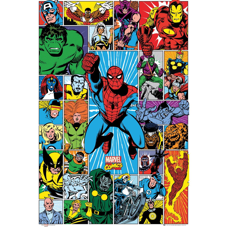 Retro Superhero Art: Wandbild Marvel Superhelden 60 Cm X 90 Cm Kaufen Bei OBI