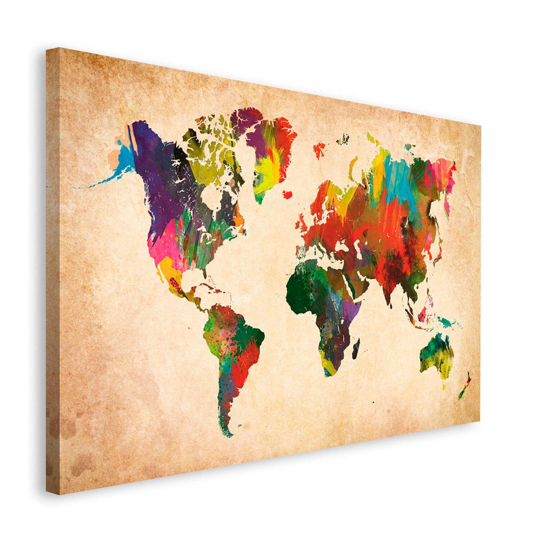 wandbild weltkarte Wandbild Weltkarte in Farben 118 cm x 70 cm kaufen bei OBI wandbild weltkarte