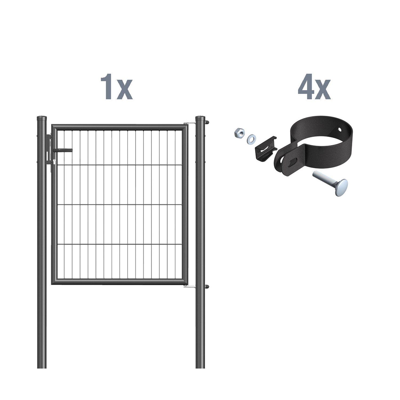 metallzaun einzeltor f r einstabmatte anthrazit z. Black Bedroom Furniture Sets. Home Design Ideas