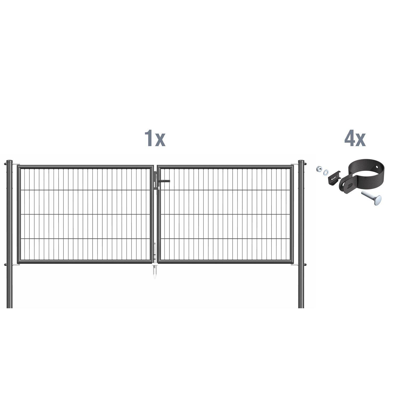 metallzaun doppeltor f r einstabmatte anthrazit z. Black Bedroom Furniture Sets. Home Design Ideas