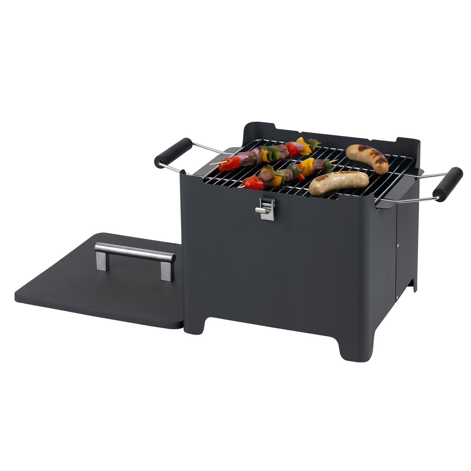 tepro holzkohlegrill chill & grill cube anthrazit 31,5 x 31,5 cm