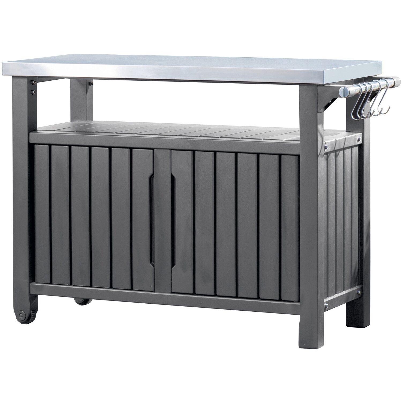 keter grill beistelltisch 90 cm x 123 7 cm x 54 cm edelstahl 2 t rig kaufen bei obi. Black Bedroom Furniture Sets. Home Design Ideas