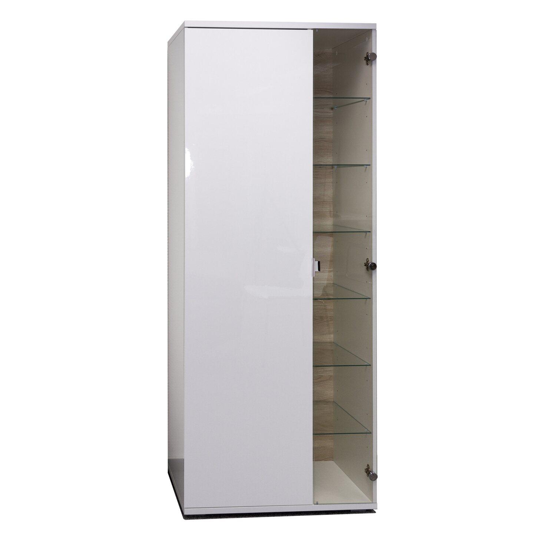 Flex-Well Wohnzimmer-Vitrine Weiß Hochglanz Korpus Brilliant-Weiß ...