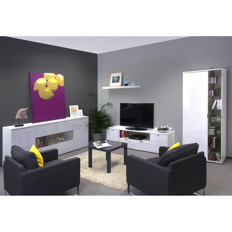 flex-well wohnzimmer-sideboard weiß hochglanz korpus brilliant, Wohnzimmer