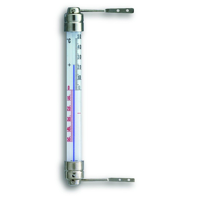 TFA Fenster-Thermometer mit drehbarem Metallhalter Weiß