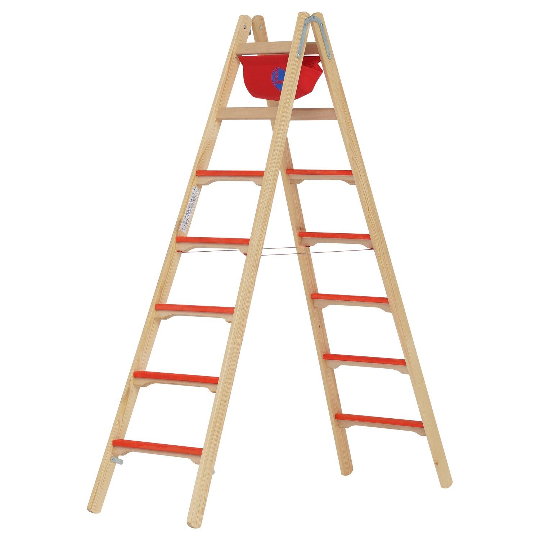 Hymer  Holz-Tiefsprossenstehleiter 2 x 7 Sprossen