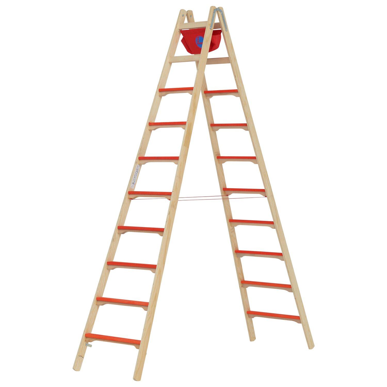 Hymer  Holz-Tiefsprossenstehleiter 2 x 10 Sprossen