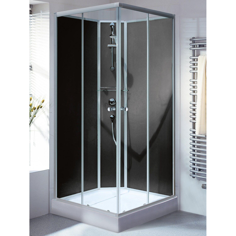 schulte wellnesskabine korfu ii eckeinstieg zum stecken r ckw nde schwarz kaufen bei obi. Black Bedroom Furniture Sets. Home Design Ideas