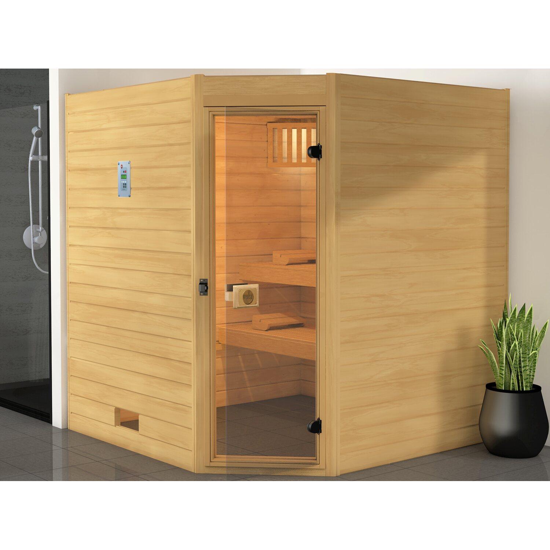 weka massivholz ecksauna 539 gr 3 mit glast r ohne ofen kaufen bei obi. Black Bedroom Furniture Sets. Home Design Ideas