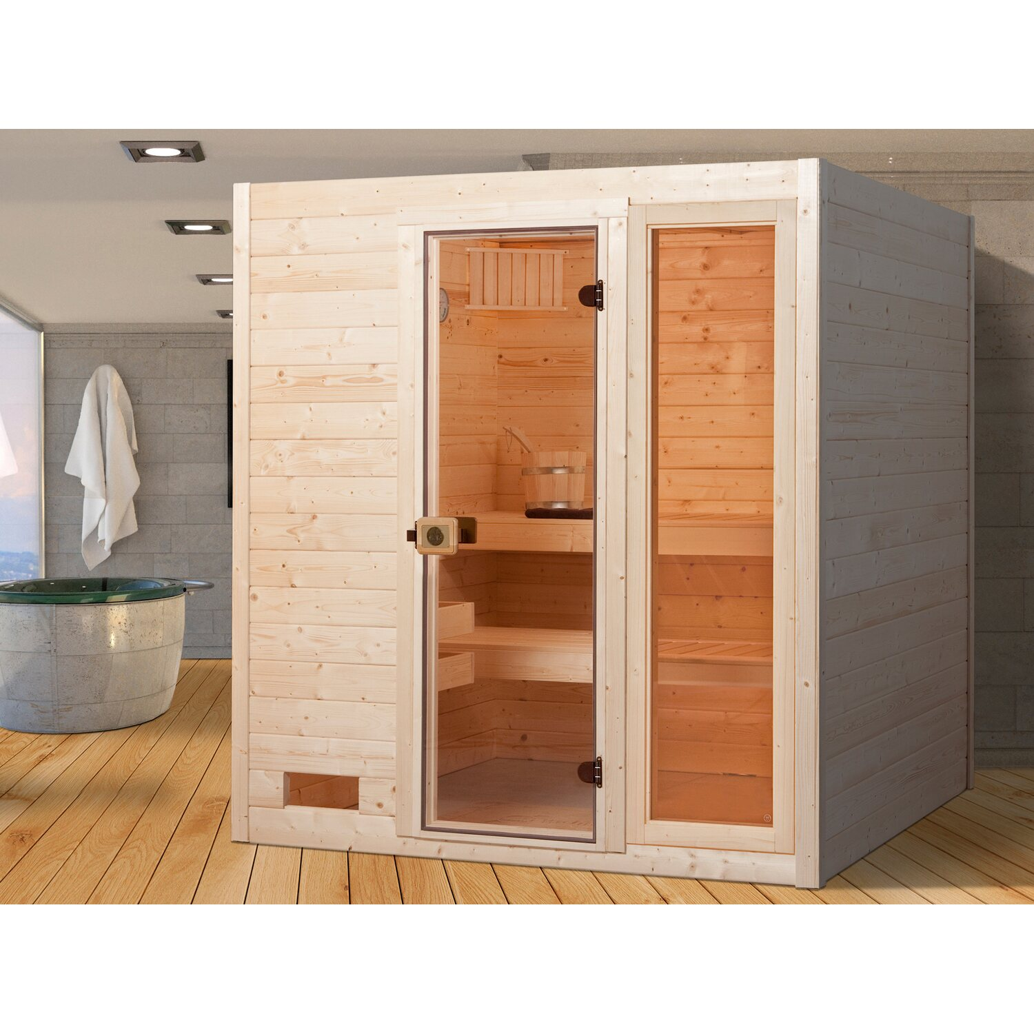 sauna kaufen guenstig gallery of domo sauna mylife alaska mini all in x x cm lbh with sauna. Black Bedroom Furniture Sets. Home Design Ideas
